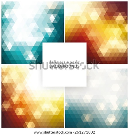 Abstract colorful triangular, mosaic backgrounds set 2 - stock vector