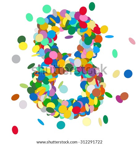 Abstract Colorful Vector Confetti Number Eight - 8 - Birthday, Party, New Year, Jubilee - Number, Figure, Digit - stock vector