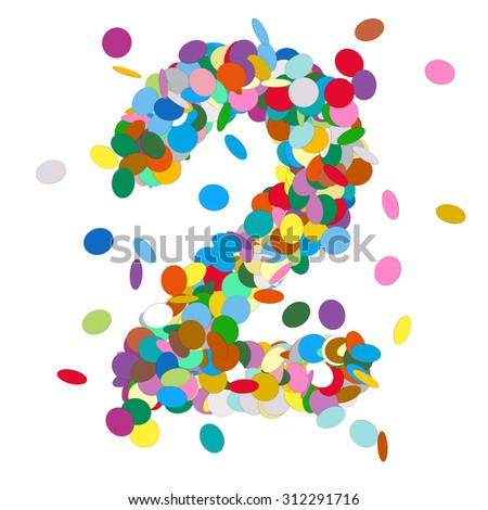 Abstract Colorful Vector Confetti Number Two - 2 - Birthday, Party, New Year, Jubilee - Number, Figure, Digit - stock vector