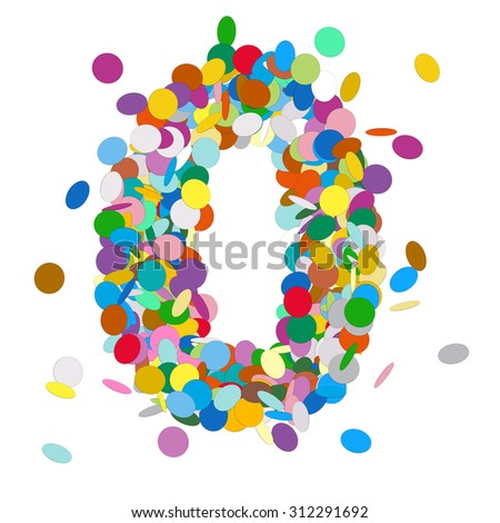 Abstract Colorful Vector Confetti Number Zero - Null - 0 - Birthday, Party, New Year, Jubilee - Number, Figure, Digit - stock vector