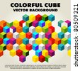 Abstract colorful vector cube - background - stock photo