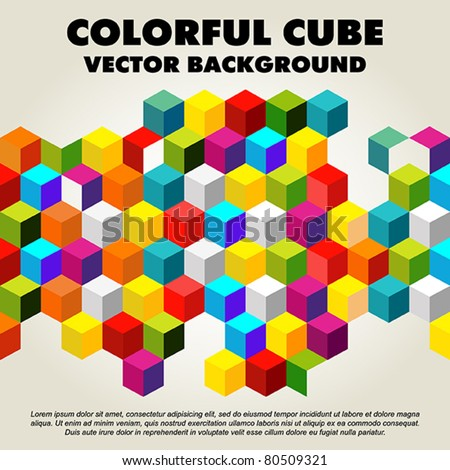 Abstract colorful vector cube - background