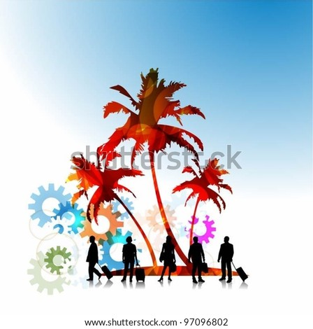 abstract colorful vector palm tree and people silhouettes - stock vector