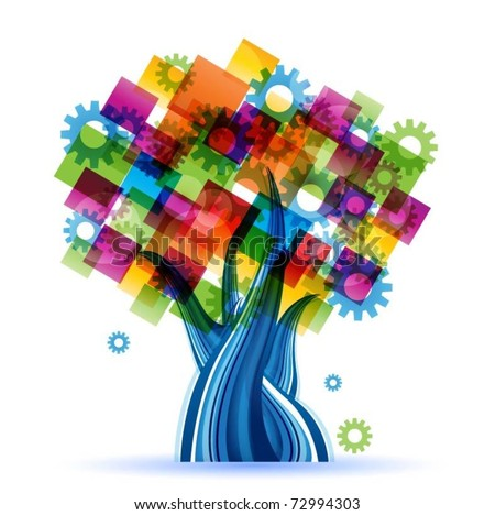 abstract colorful vector tree
