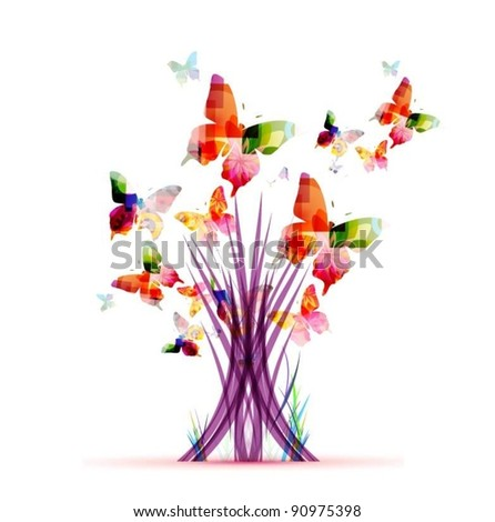 abstract colorful vector tree with butterflies - stock vector