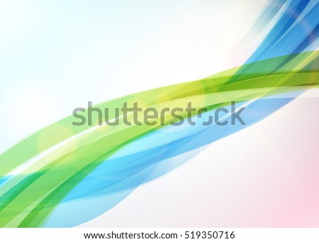 Abstract colorful wave background. Bright shining sun. Summer or spring background. Wave background with light effects. Vector illustration