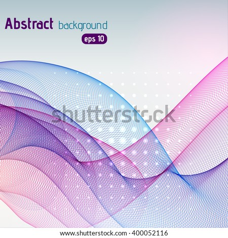 Abstract colorful wave background. Vector illustration. Purple, blue, pink colors.