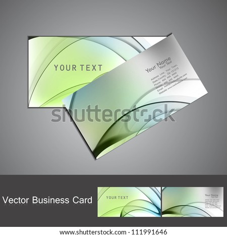 abstract colorful wave business card set design vector - stock vector