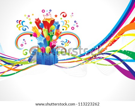 abstract colorful wave with magic box vector illustration - stock vector