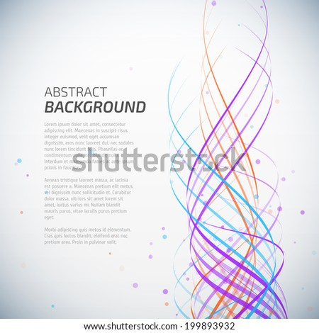 Abstract colorful waves background with dots - stock vector