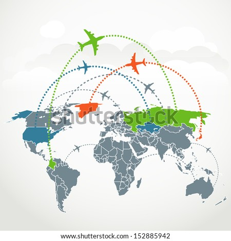 Abstract communication scheme of foreign flights - stock vector