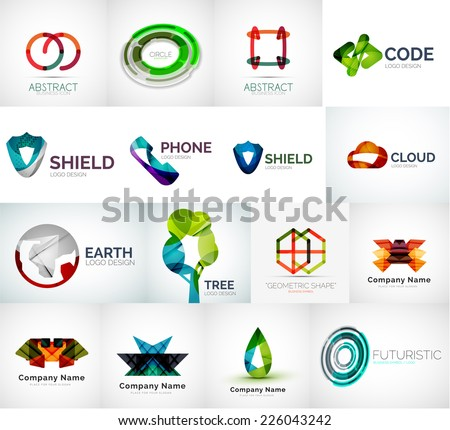 Abstract company logo vector collection - modern various business corporate logotypes - stock vector
