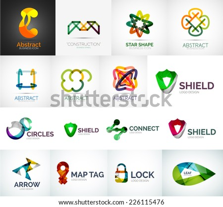 Abstract company logo vector collection - 16 modern various business corporate web logotypes - stock vector