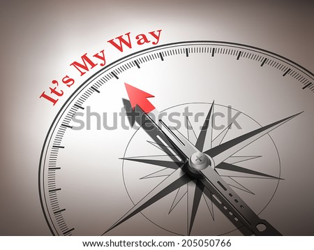 abstract compass needle pointing the word it's my way in red and white tones - stock vector