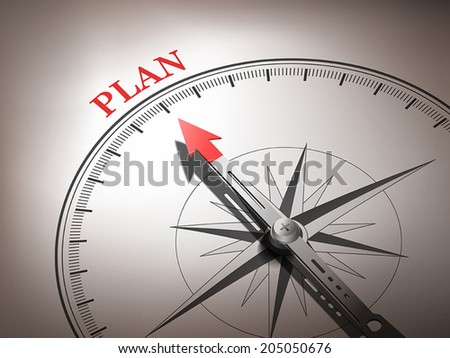 abstract compass needle pointing the word plan in red and white tones - stock vector