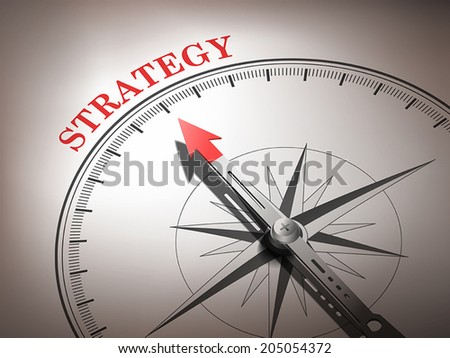 abstract compass with needle pointing the word strategy in red and white tones  - stock vector