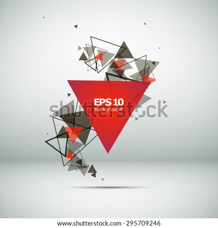 Abstract composition, a tornado of triangles, red, background | EPS10 vector illustration - stock vector