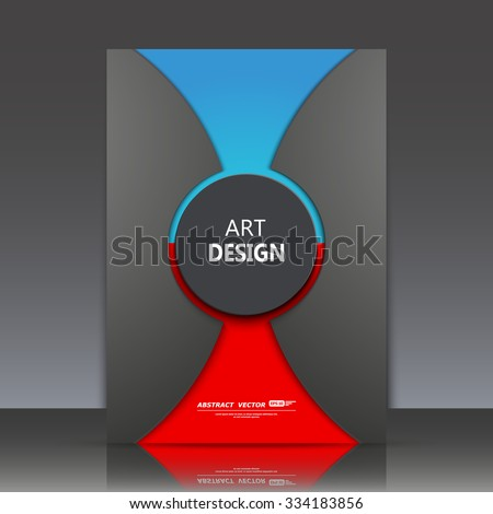 Abstract composition, blue and red circle framework, a4 brochure title sheet, round logo construction backdrop, black business card surface, firm sign, dark fashionable fiber texture, EPS10 vector - stock vector
