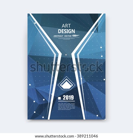 Abstract composition, blue polygonal stripe font texture, band part construction, white a4 brochure title sheet, creative figure icon, commercial logo surface, firm banner form, EPS10 flier fiber - stock vector