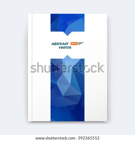 Abstract composition, blue polygonal stripe font texture, band part construction, white a4 brochure title sheet, creative figure icon, commercial logo surface, firm banner form, EPS 10 flier fiber - stock vector