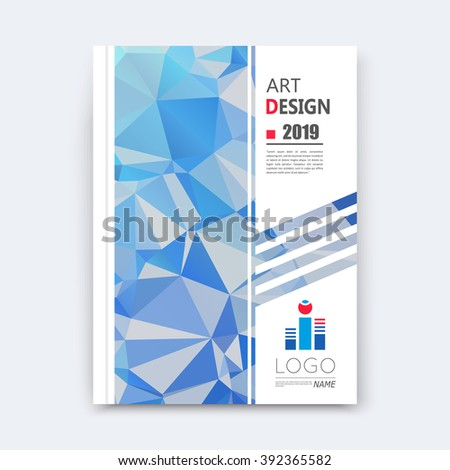Abstract composition, blue polygonal texture, triangle part construction, line plexus, a4 brochure title sheet, creative figure icon, crystal facets, sapphire diamond surface, banner form, flyer font - stock vector