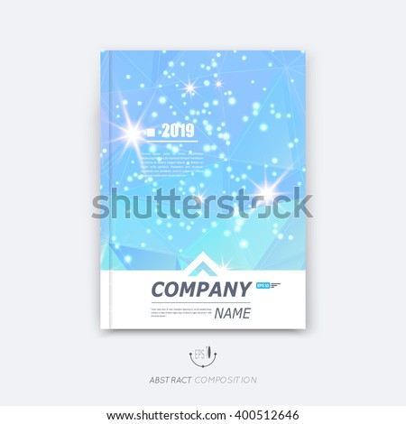 Abstract composition, blue sky polygonal texture, triangle part construction, line plexus, a4 brochure title sheet, creative figure icon, crystal facets, azure diamond surface, banner form, flyer font - stock vector