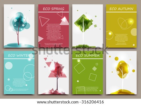Abstract composition, business card set, certificate collection, ecological brochure title sheet, diploma, patent, charter, eco text frame, biological image, botanic print, EPS 10 vector illustration - stock vector