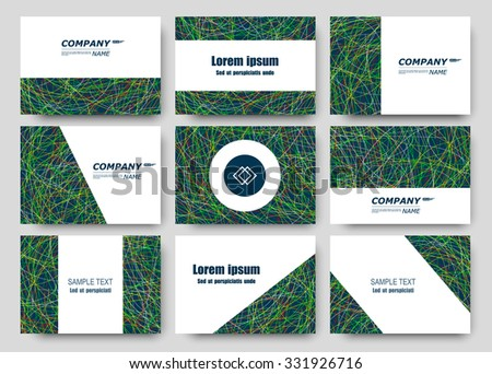 Abstract composition, business card set, correspondence letter collection, brochure title sheet, certificate, diploma, patent, charter, figure frame surface, grass backdrop, EPS10 vector illustration - stock vector