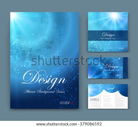 Abstract composition, business card set, geometric shape font texture, blue a4 brochure title sheet, creative marine figure icon, circle logo sign, sale flyer fiber, EPS10 banner form - stock vector