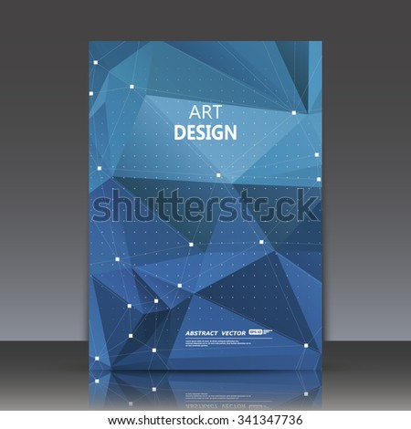 Abstract composition, crystal facets, diamond texture, polygonal triangle construction,   transparent glass surface, dot and line connecting, blue business card backdrop, galaxy font, logo sign, EPS10 - stock vector