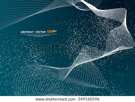 Abstract composition, dots shape, ice theme, curve line band construction, strip, cosmic starlight icon, outer space star scintillation, snowfall backdrop, snow flake wallpaper, EPS10 illustration - stock vector