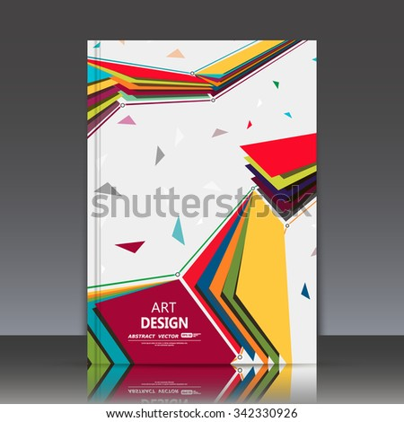 Abstract composition, flying colored paper sheet construction, square blocks group, geometric objects texture, white font, a4 brochure title, light backdrop, business card surface, modern fiber, EPS10 - stock vector