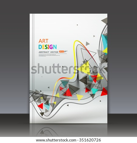 Abstract composition, flying triangle curve line icon, red, yellow, blue figure construction, white backdrop, ribbon band weave, a4 brochure title sheet, technological tape surface, EPS10 illustration - stock vector