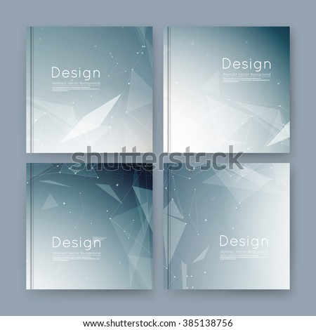 Abstract composition, gray business card set, sale info text, elegant geometric shapes, font texture, brochure title sheet, creative figure icon, triangle galaxy, space flyer fiber, EPS10 banner form - stock vector