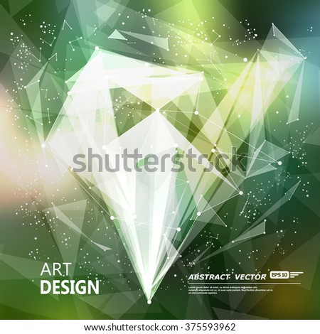 Abstract composition, green font texture, white cybernetic dot, title sequence, wallpaper, creative figure, intro banner form, point surface, outer space flyer fiber, neon star matrix, EPS10 backdrop - stock vector