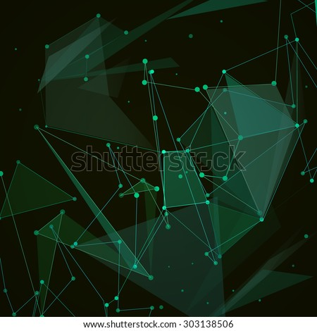 Abstract composition, green polygonal space ornament, screen saver, display background pattern, EPS 10 vector illustration - stock vector