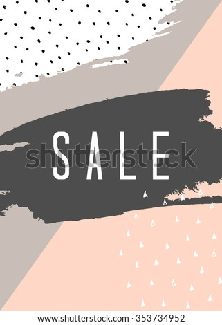 Abstract composition in pastel pink, white, dark gray and taupe. Modern design sale poster, flyer, brochure design. - stock vector