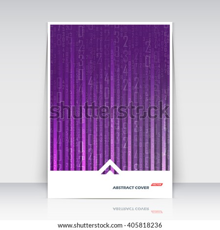 Abstract composition. Math technology. A4 brochure title sheet. Scientific digital banner icon. Business card texture. Purple arithmetic sum backdrop. Lilac number sequence font. Arabic cipher. EPS10. - stock vector
