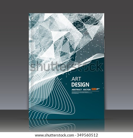 Abstract composition, neon polygonal triangle construction, a4 brochure title sheet, curve band, dot, line icon, futuristic strip backdrop, interlocking weave, technological surface EPS10 illustration - stock vector