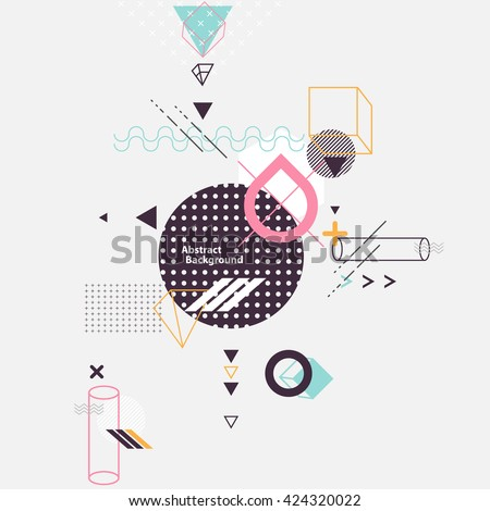 Abstract composition of geometric elements - stock vector