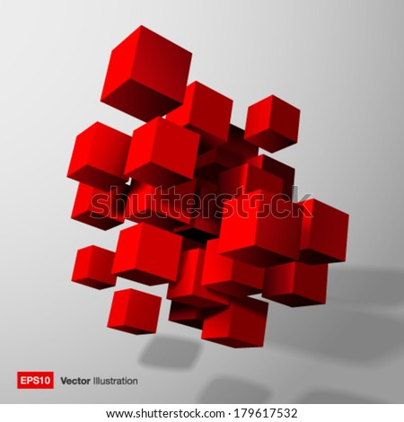 Abstract composition of red 3d cubes. Vector illustration - stock vector