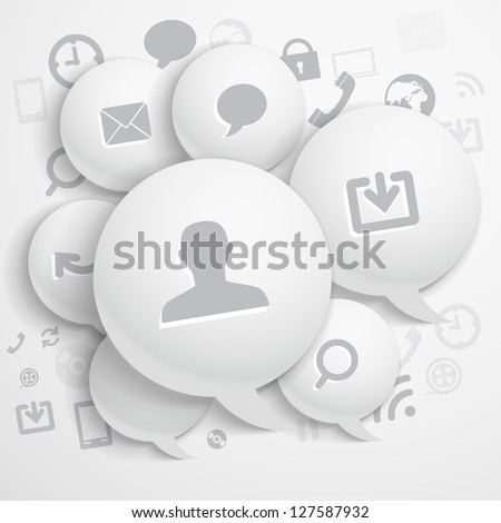 Abstract composition of speech clouds with modern media icons - stock vector
