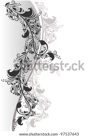 Abstract Composition of the decorative floral elements in black and white on a background for text - stock vector