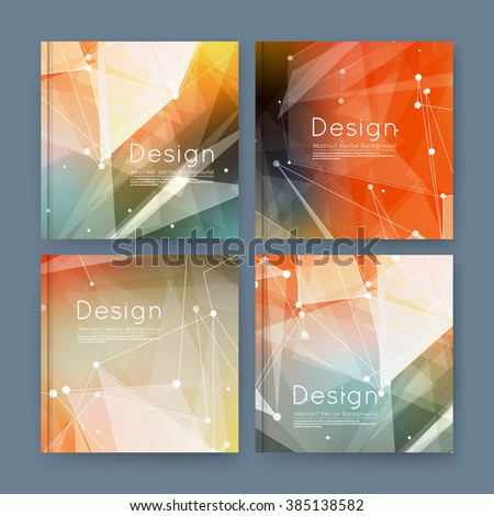Abstract composition, orange business card set, sale info text, elegant geometric font texture, brochure title sheet, creative figure icon, rays plexus, outer space flyer fiber, EPS10 banner form - stock vector