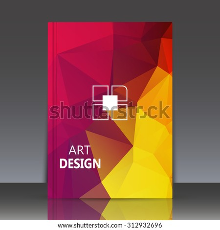Abstract composition, polygonal background, geometric shapes connecting, brochure title sheet backdrop, square blocks logo construction, rainbow color, crystal face shine, EPS 10 vector illustration - stock vector
