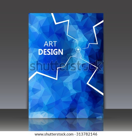 Abstract composition, polygonal construction, connecting dots and lines, indigo brochure title sheet, alien space background, laser light rays, neon star movement, EPS 10 vector illustration - stock vector