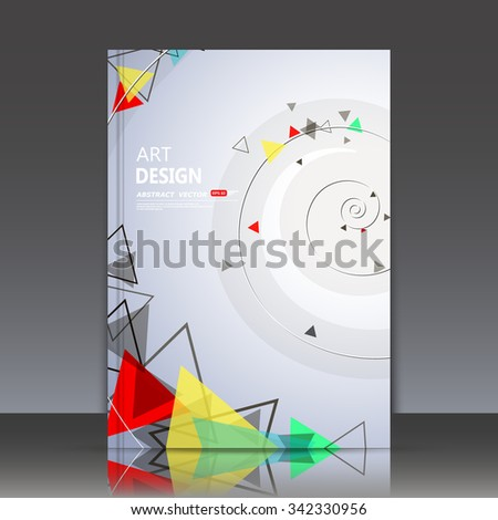Abstract composition, spiral texture, helix font, red, yellow, green triangle construction, a4 brochure title sheet, white backdrop, gyre business card surface, modern light gray fiber texture, EPS10 - stock vector