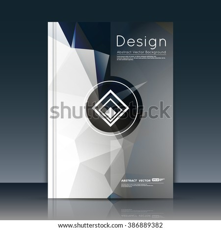 Abstract composition, text font surface, white a4 brochure title sheet, creative figure, logo sign icon, trademark symbol design, firm name emblem, grey banner form, flier fashion, EPS10 vector image - stock vector