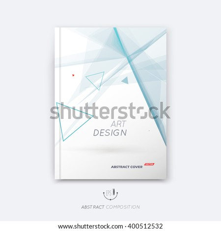 Abstract composition, triangle font texture, blue stripe section frame surface, line construction, white a4 brochure title sheet, creative figure vector art, commercial offer, banner form, flyer fiber - stock vector