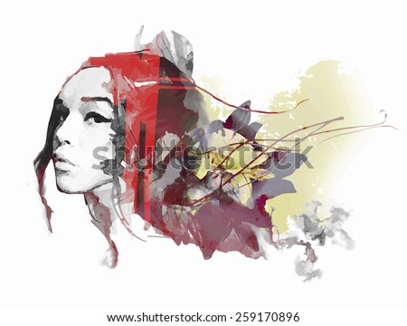Abstract composition with a lady and flowers - stock vector